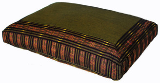 Boon Decor Meditation Cushion Rectangular Zafu Pillow - Low Rise - Global Weave Olive/Copper
