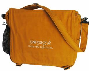 Yoga/Gym/Meditation/Messenger Bag - Cotton Canvas Namaste Mustard
