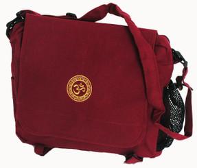 Boon Decor Yoga Accessory Bag - Om Burgundy Cotton Canvas 16x12x6