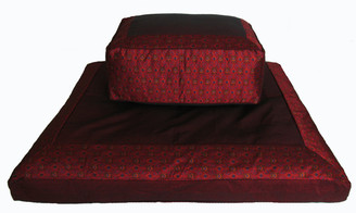 Boon Decor Meditation Cushion Set Rectangular Zafu Zabuton - Burgundy Ikat Print