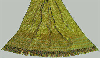 Boon Decor Meditation Shawl - Silk Blend Brocade - Golden/Chartreuse 40x 72