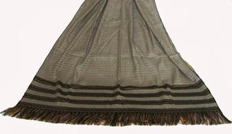 Meditation Shawl - Silk Blend Brocade - Gray/Black