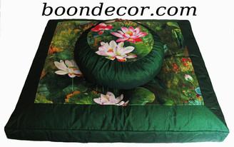 Boon Decor Meditation Cushion Set Zafu and Zabuton - Lotus Lake Blossoms Watercolor