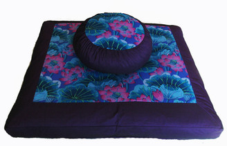 Boon Decor Meditation Cushion Zafu and Zabuton Set - Lotus Lake Blossoms - Purple