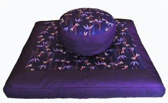 Boon Decor Meditation Cushion Set Zabuton Zafu Dragonflies in Puple Bamboo Forest