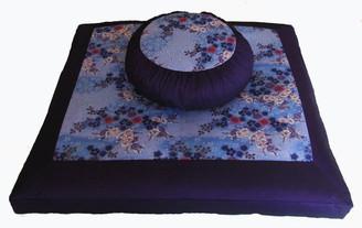 Boon Decor Meditation Cushion Zafu and Zabuton Set - Sakura Blossoms Purple