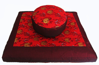 Boon Decor Meditation Cushion Zabutonand Combination Zafu Set - Golden Dragons Memories of China