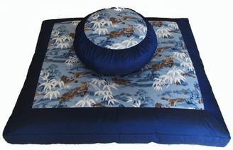 Boon Decor Meditation Cushion Zafu and Zabuton Set Benevolent Dragon in the Blue Mist Mountains