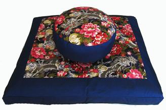 Boon Decor Meditation Cushion Zabuton and Combination Zafu Set - Dragons and Peonies Blue