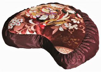 Boon Decor Meditation Cushion Crescent Zafu Buckwheat Pillow Japanese Kimono Silk Red Bird