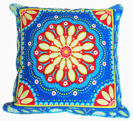 Boon Decor Decorative Throw Pillow Gypsy Bandana Blue/Red One of a Kind SEE BOTH SIDES 24x24