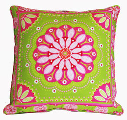 Boon Decor Decorative Throw Pillow Gypsy Bandana Lime/Pink SEE BOTH SIDES 24x24