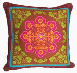 Boon Decor Decorative Throw Pillow Gypsy Bandana Teal/Brown SEE BOTH SIDES 24x24