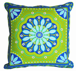 Boon Decor Decorative Throw Pillow Gypsy Bandana Lime/Turquoise SEE BOTH SIDES 24x24