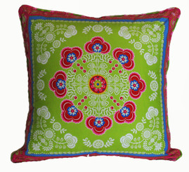 Boon Decor Throw Pillow Gypsy Bandana One of a Kind Dark Lime/Pink SEE BOTH SIDES 24x24