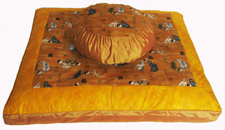 Boon Decor Meditation Cushion Zafu and Zabuton Set - Ying Yang Cats and Gold Stars