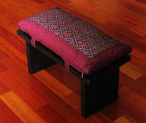 Boon Decor Meditation Bench and Cushion Seiza Set - Ikat Cushion Burgundy