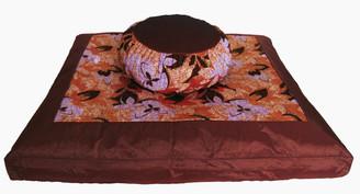 Boon Decor Meditation Cushion Zafu and Zabuton Set - Stylized Floral Japanese Silk