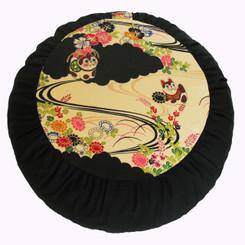 Boon Decor Meditation Cushion Japanese Lucky Cats Rare Kimono Fabric Zafu SEE PATTERNS