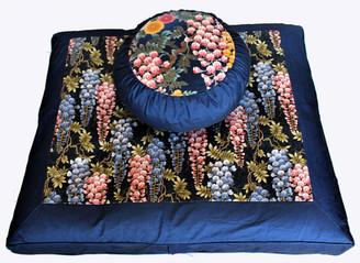 Boon Decor Meditation Cushion Zafu and Zabuton Set One of a Kind Wisteria Garden