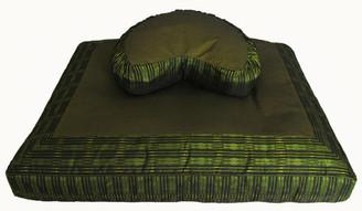 Boon Decor Meditation Cushion Crescent Zafu Pillow and Zabuton Mat Set - Global Weave Green
