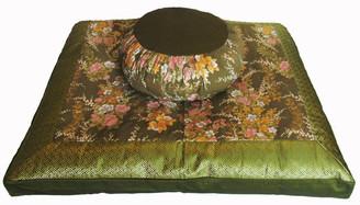 Boon Decor Meditation Cushion Zafu and Zabuton Set - Japanese Kimono Silk - Green