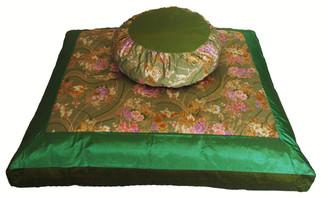 Boon Decor Meditation Cushion Japanese Zafu and Zabuton Set - Kimono Silk Shades of Green