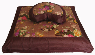 Boon Decor Meditation Cushion Crescent Set - Japanese Silk - Chocolate Brown One-of-a-Kind