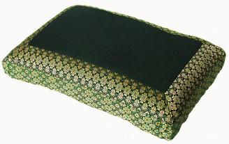 Boon Decor Meditation Pillow - Low Rise Sitting Cushion - Green Jewel Brocade
