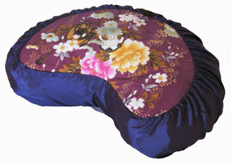 Boon Decor Meditation Cushion Pillow Crescent Buckwheat Zafu Japanese Kimono Silk Purple Peony