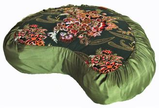 Boon Decor Meditation Cushion Pillow Crescent Zafu Japanese Kimono Silk Green