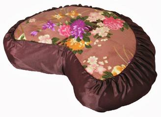 Boon Decor Meditation Cushion Crescent Zafu Pillow Japanese Kimono Silk Floral Chocolate Brown