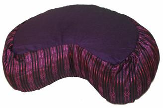 Boon Decor Meditation Cushion Crescent Buckwheat Zafu Pillow - Global Weave - Purple