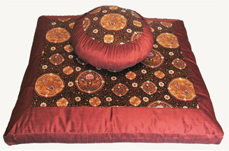 Boon Decor Meditation Cushion Japanese Zafu Zabuton Set Butterflies in the Orient Copper/Brown