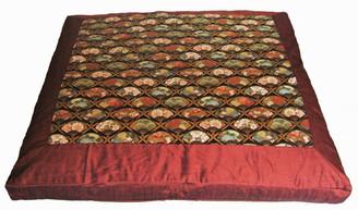 Boon Decor Meditation Cushion Zabuton Floor Mat Fans of the Imperial Garden Copper/Brown