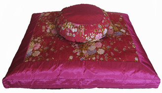Boon Decor Meditation Cushion Japanese Zafu and Zabuton Set - Kimono Silk Dusky Pink Peony