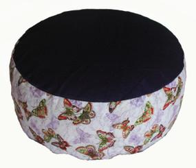 Boon Decor Meditation Cushion - Buckwheat Kapok Fill Zafu Pillow - Butterflies Purple