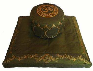 Boon Decor Meditation Cushion Set High Seat Zafu and Zabuton Om Symbol - SEE COLORS