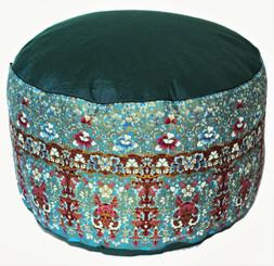 Boon Decor Meditation Cushion High Buckwheat Kapok Zafu - Indochine Teal One-of-a-Kind