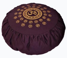 Boon Decor Meditation Pillow Buckwheat Om Universe or Lotus Enlightenment Canvas Plum