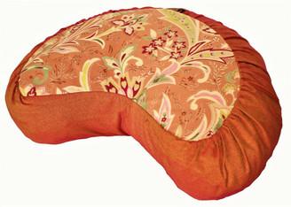 Boon Decor Crescent Meditation Cushion Zafu Pillow Japanese Kimono Silk Floral Iris Peach