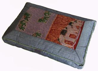 Boon Decor Meditation Pillow Sitting Zafu Elephants Gray Green 18x12x4.5 h