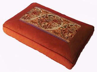 "Meditation Cushion Pillow - Low Rise Sitting Zafu ""Elephant in Circle"" Saffron"