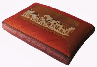 Boon Decor Meditation Pillow Sitting Zafu Elephant Trek Saffron 18x12x4.5 h