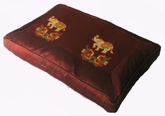 Boon Decor Meditation Cushion Pillow Sitting Zafu Twin Elephants Copper Brown