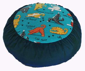 Boon Decor Meditation Cushion Zafu buckwheat Pillow Yoga Cats Teal Rare Find Fabric