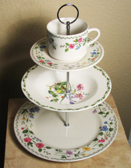 Boon Decor 3 Tier Cake Stand - Vintage Plates - One of a kind SEE PATTERN SELECTIONS