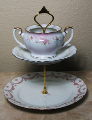 Boon Decor 2 Tier Cake Stand - One of a kind - Vintage Plates SEE PATTERN SELECTIONS