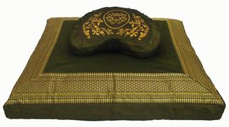 Boon Decor Meditation Cushion Buckwheat Crescent Zafu and Zabuton Set - One of a Kind Brocade Olive
