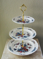 Boon Decor 3 Tier Cake hors d Ouvres Stand - Vintage Wedgewood Williamsburg Plates Potpourri